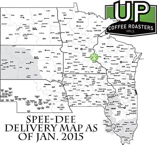 Speedee Delivery Map Shipping & Ordering Information   UP Coffee Roasters